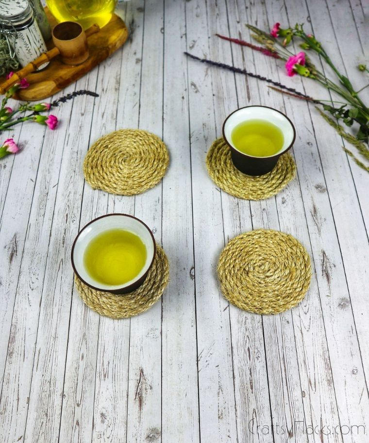 cups of tea on rope coasters