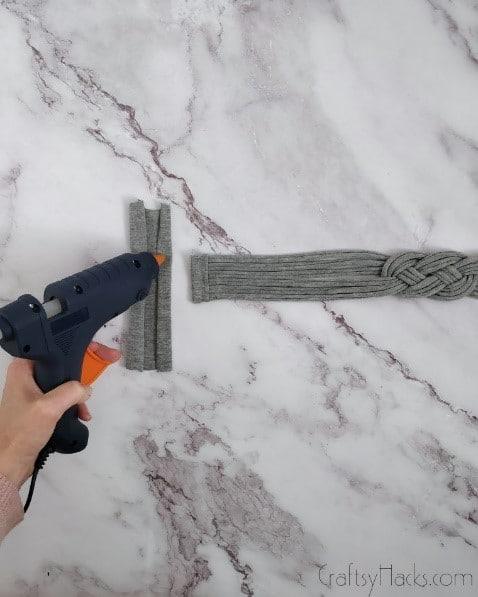 hot glue on fabric square