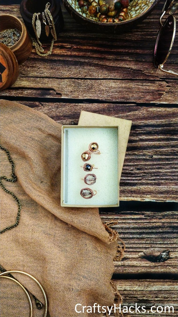 top view of box of copper rings