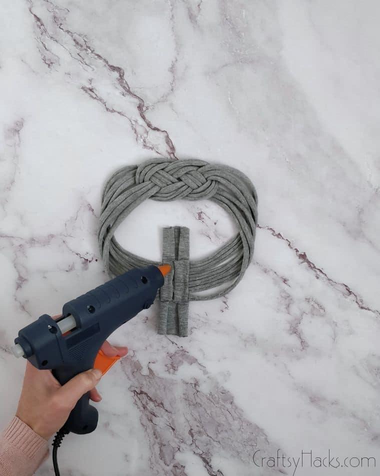 hot glueing headband loop