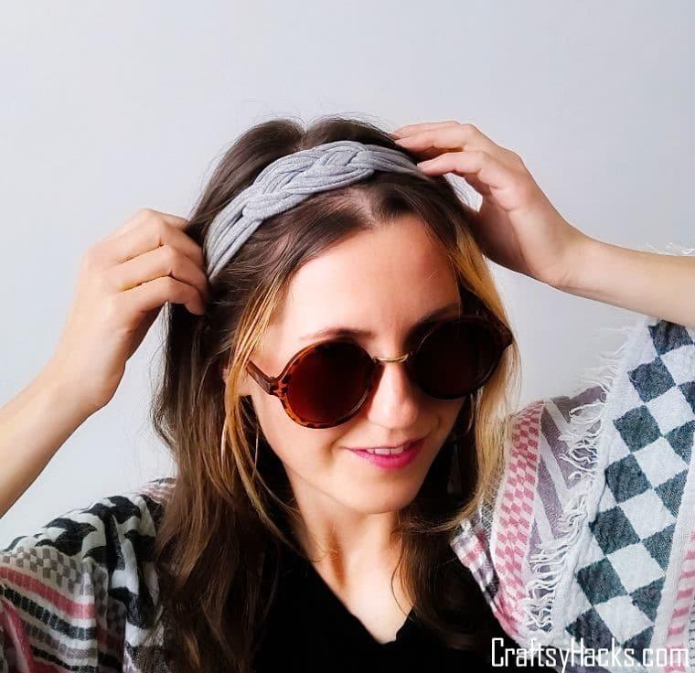 diy headband on womans head