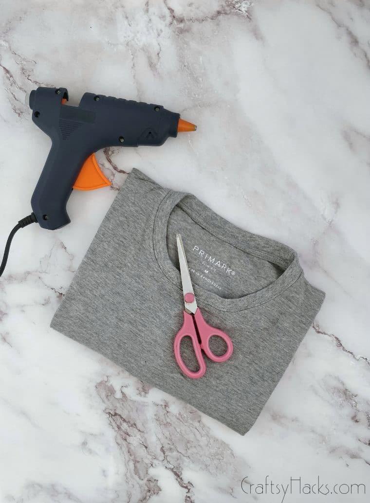 glue gun, scissors, and tshirt