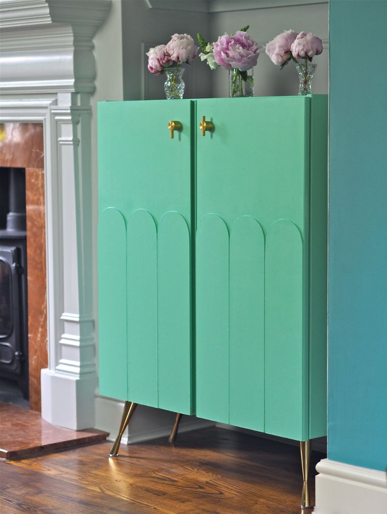 teal art deco cabinet