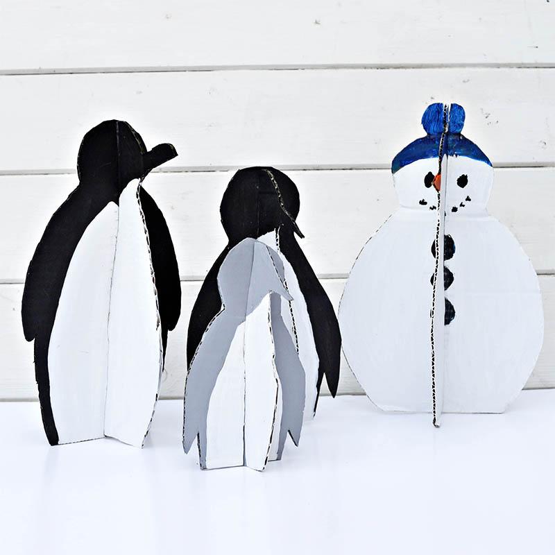 Cardboard Penguin Family
