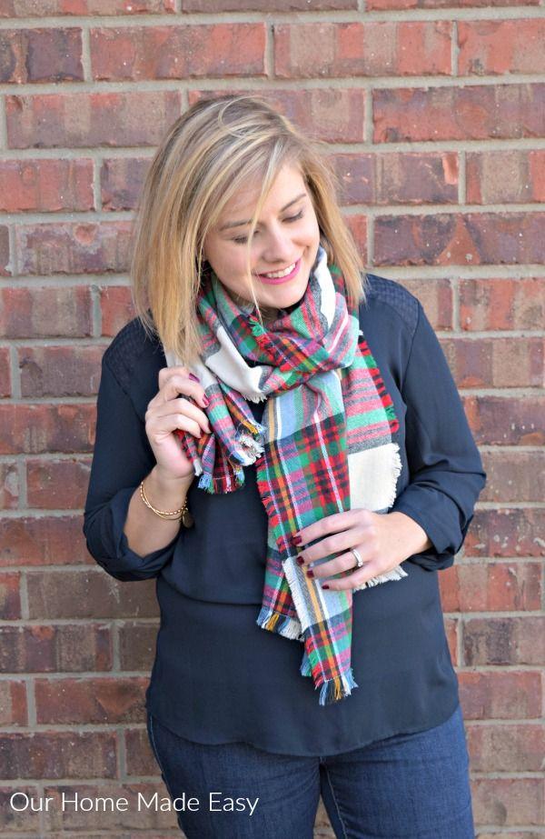 Blanket Flannel Scarf with Fringe