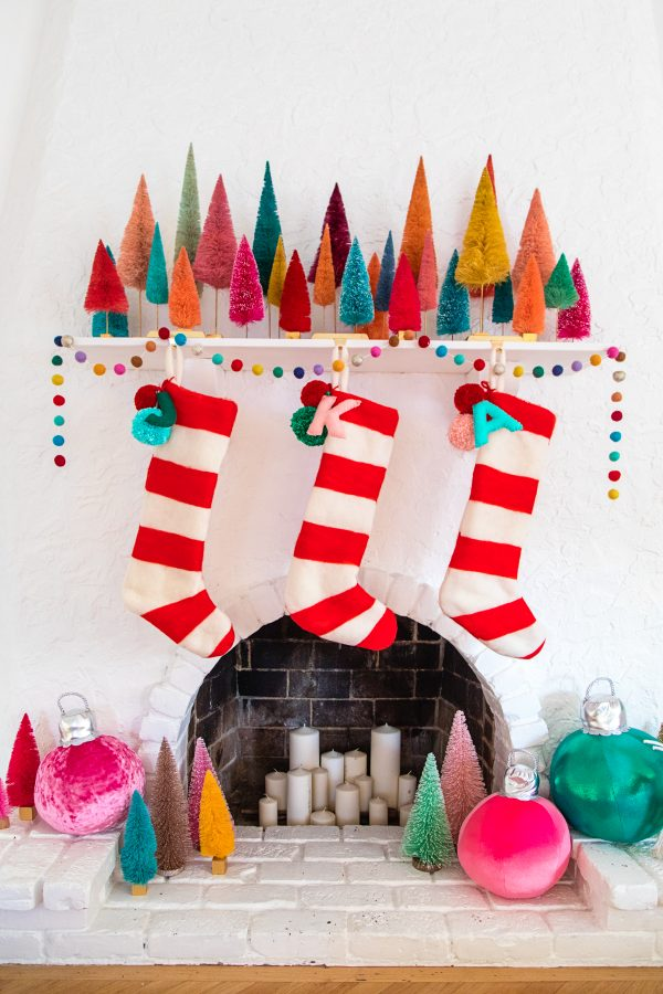 Felted Stripe Christmas Stockings