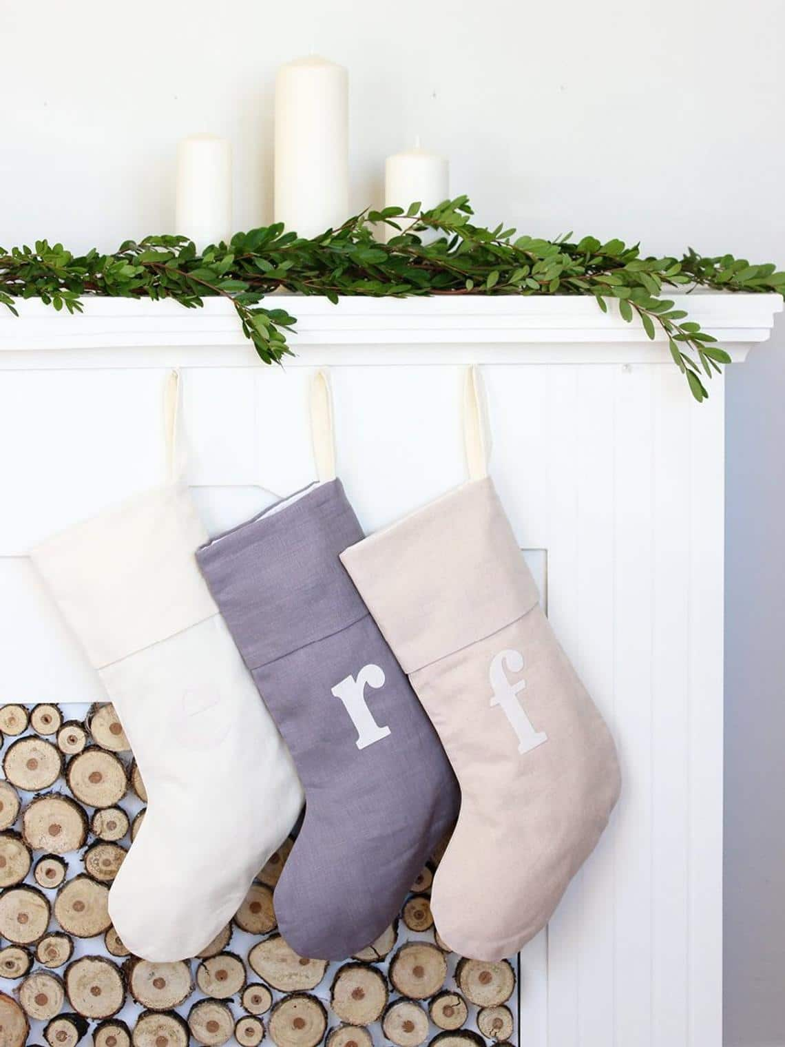 Minimalist Letter Stockings