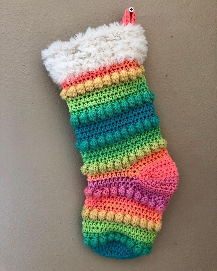 Rainbow Boho Crochet Stocking