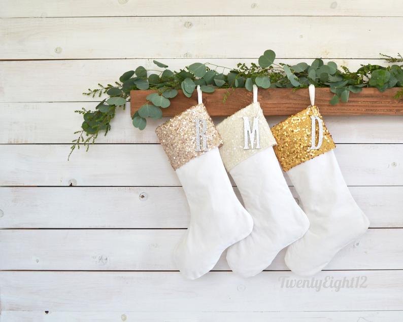 Metallic Personalized Christmas Stocking