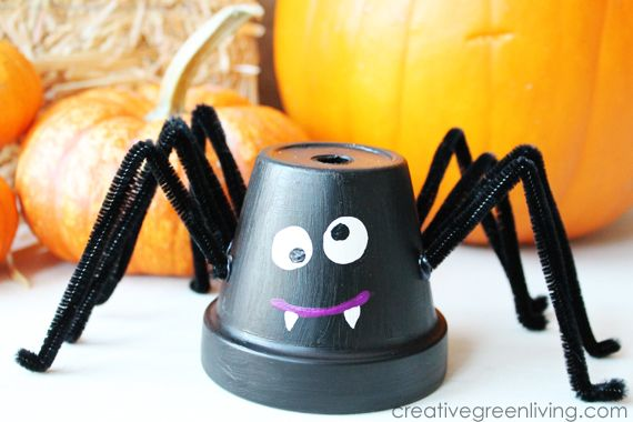 Spider Upcycled Flowerpots