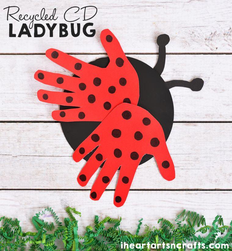 Recycled CD and Handprint Ladybug