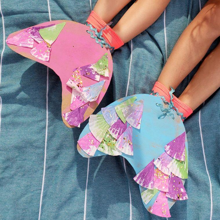Cardboard Mermaid Tail Flippers