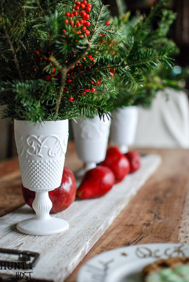 Christmas Milk Glass Centrepiece