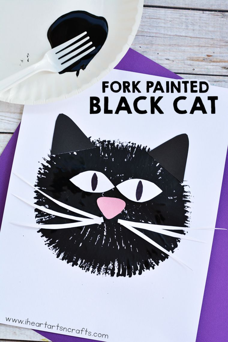 Fork Painted Black Cat