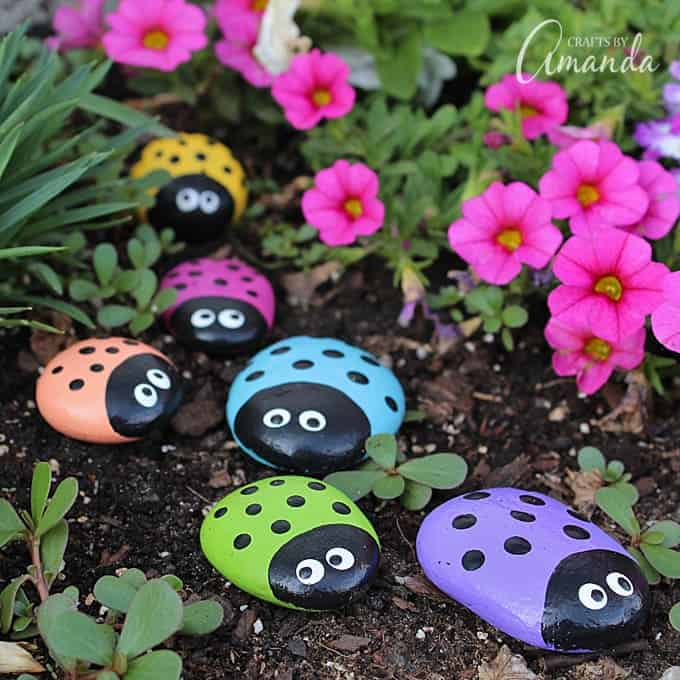 Ladybug Rocks for the Garden