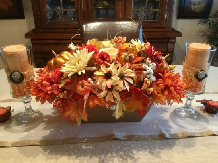 Floral Fall-themed Centrepiece