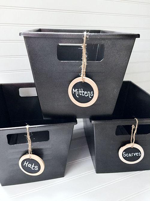 Labeled Coat Closet Baskets