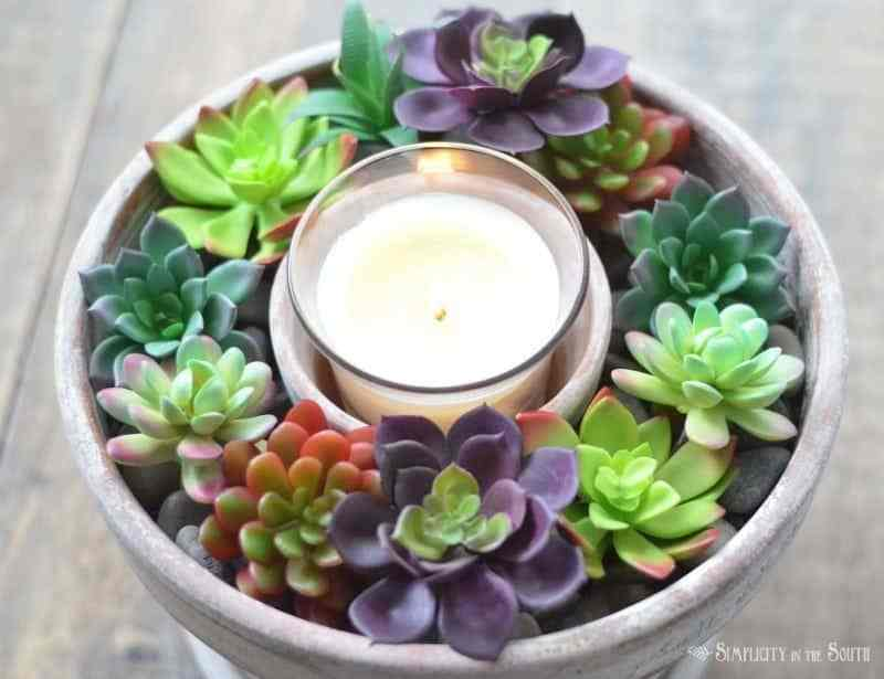 Succulents and Candle Centrepiece