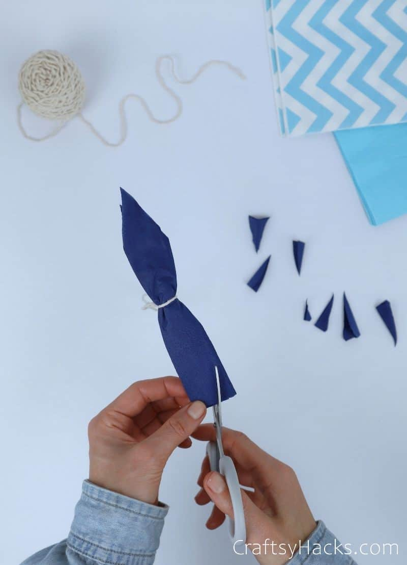 cutting tissue paper ends