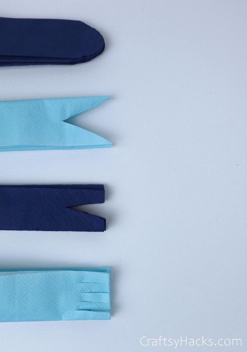 tissue paper cut 4 different ways
