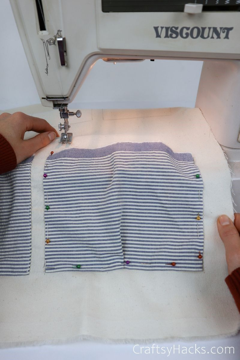 pinned fabric in sewing machine