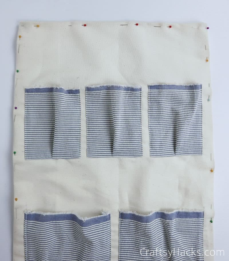 pinned border of fabric