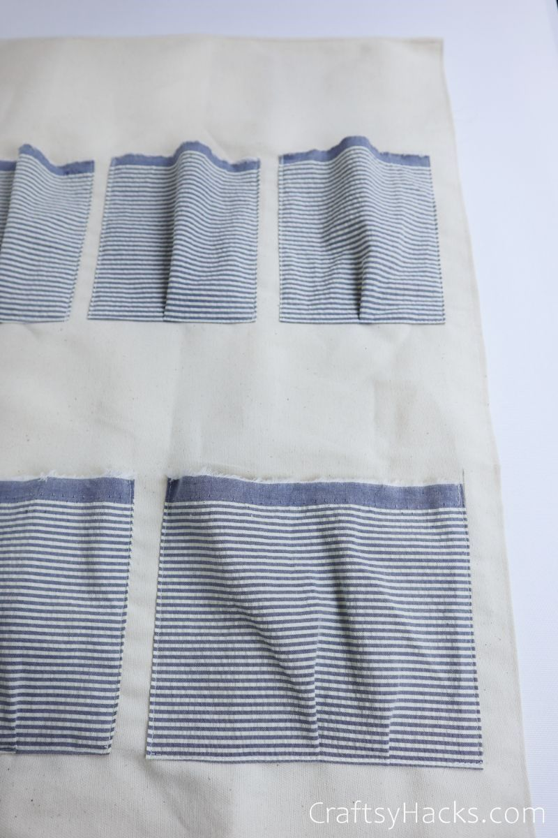 stitched outside of fabric