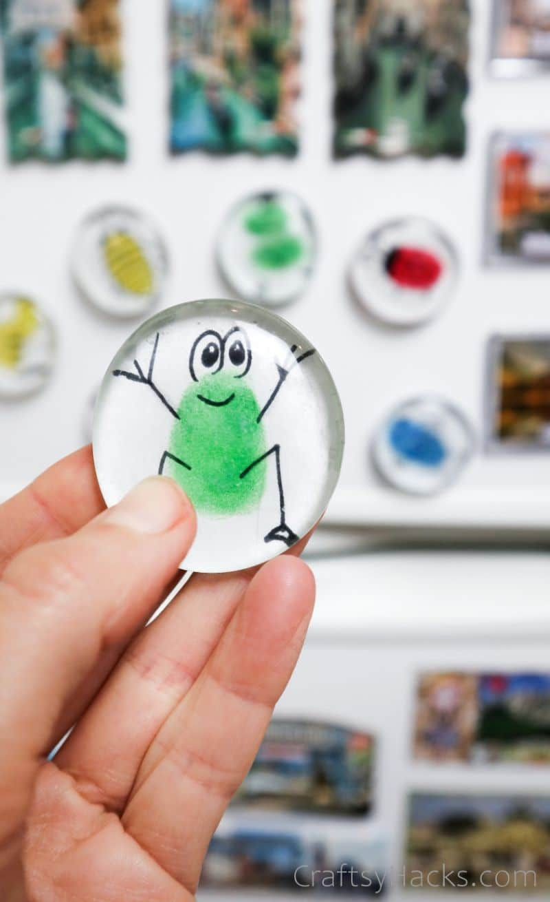 holding glass magnet with frog figure
