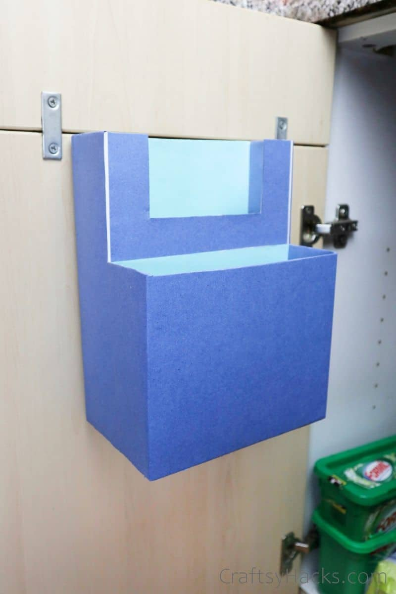 DIY organizer on cabinet door