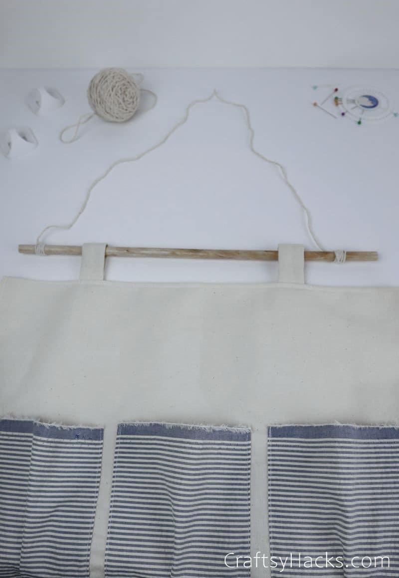 hanging organizer with string