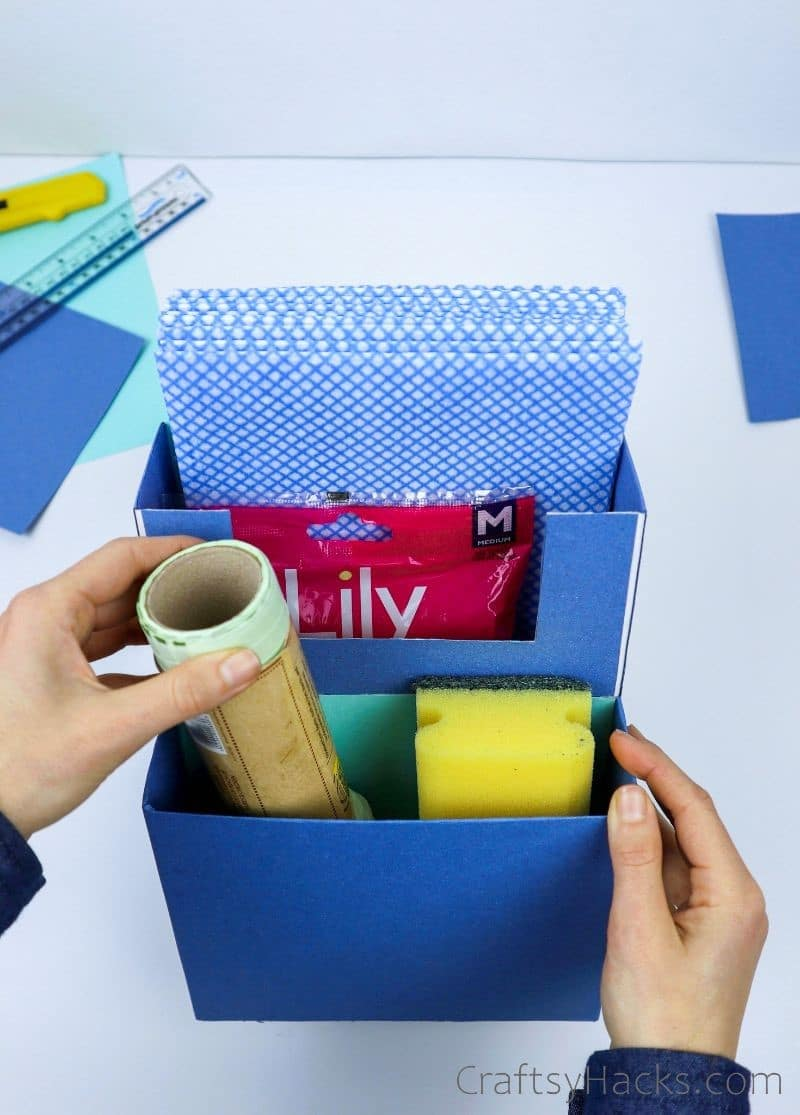 organizer with cleaning supplies