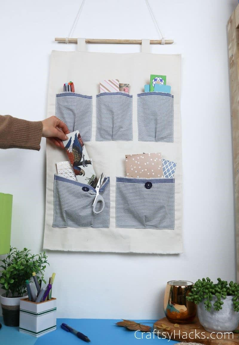 diy pocket organizer filled with items