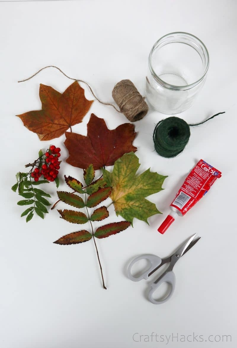 leaves and craft supplies
