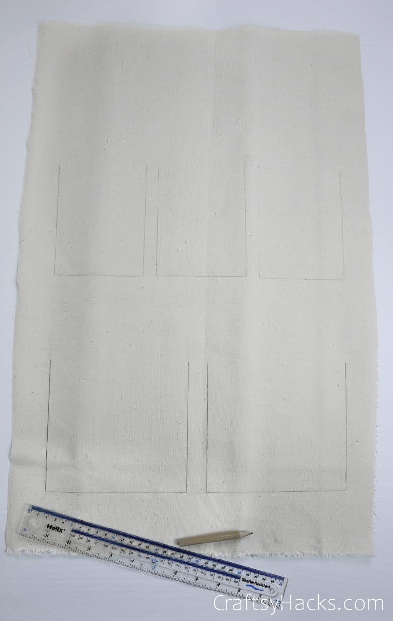 rectangles drawn on fabric