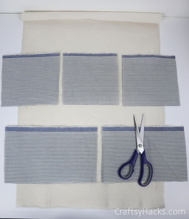 cut out fabric rectangles