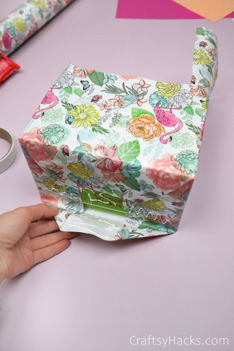 glueing down wrapping paper