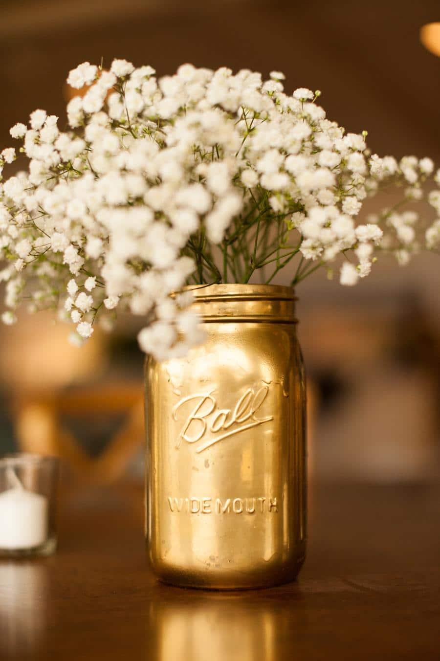 Golden Mason Jar Centerpieces
