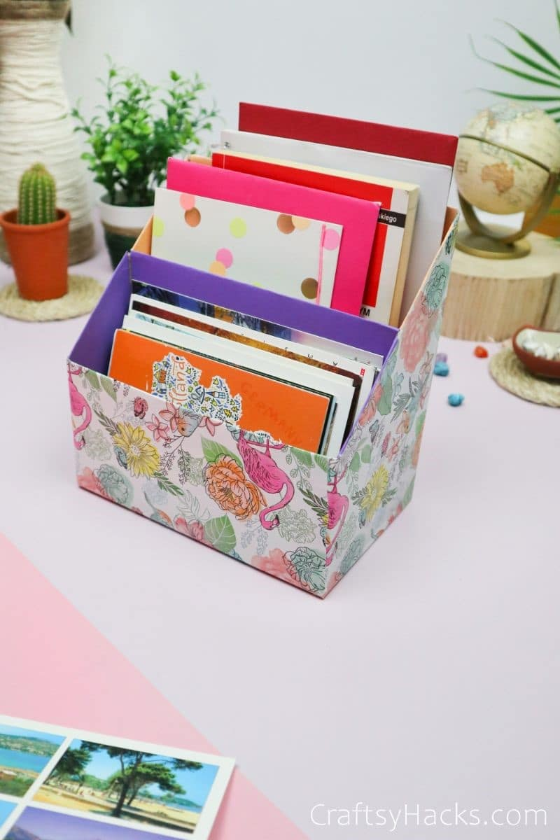 desk organizer filled with papers