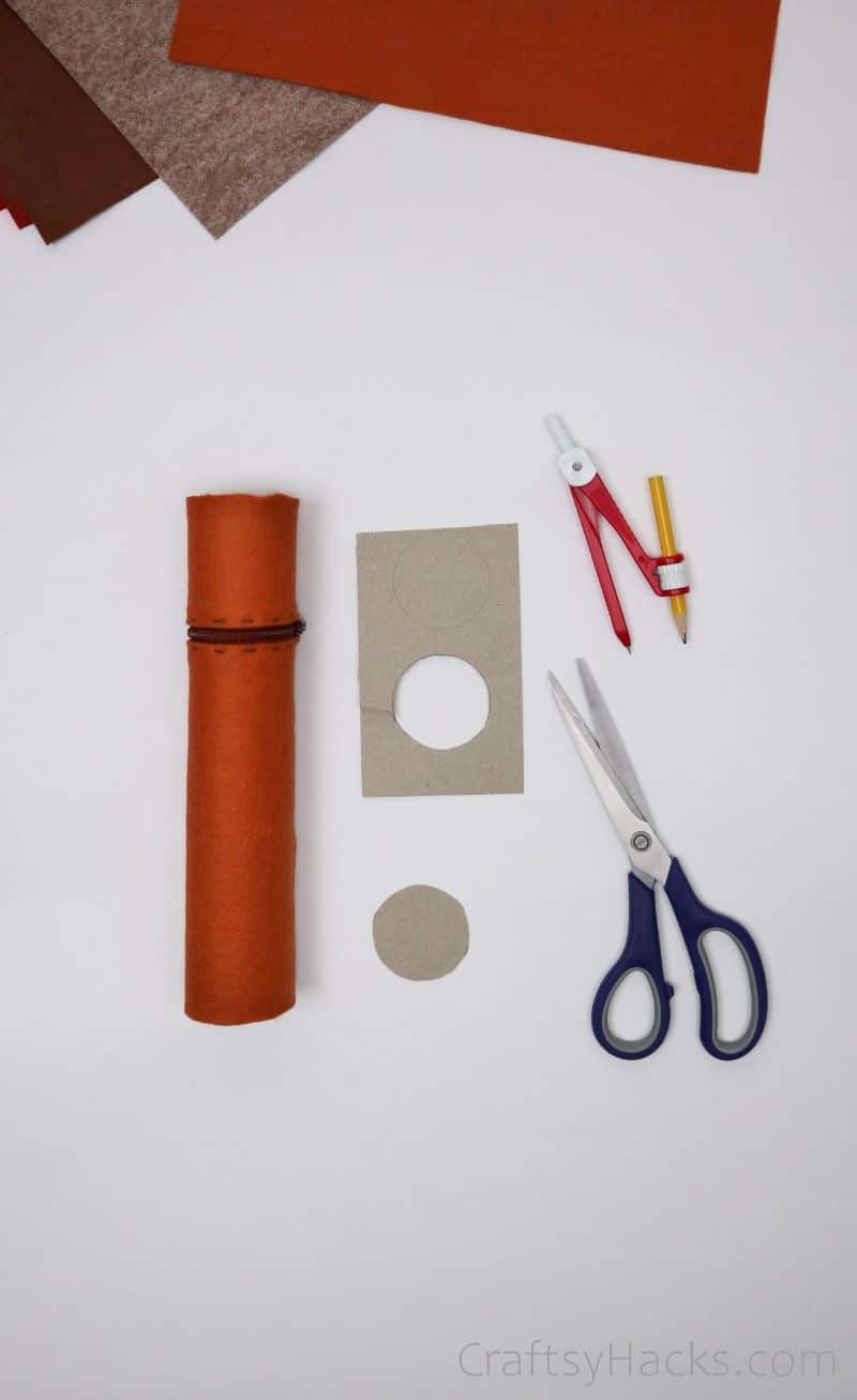 pencil case with paper roll lid cutout