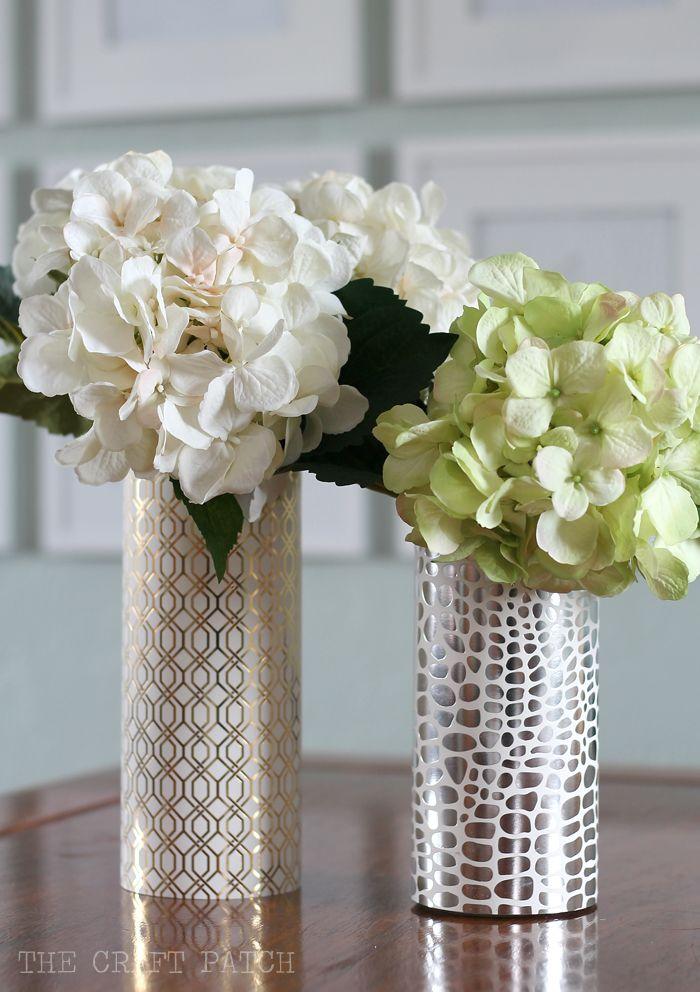 Metallic and Geometric Tall Vase