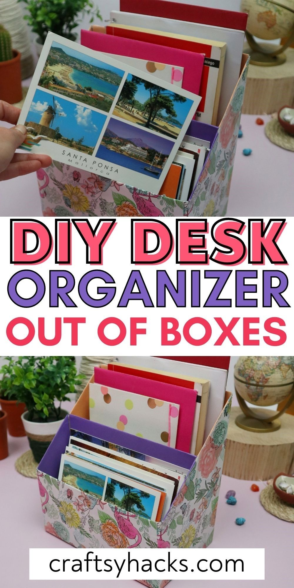 diy desk organizer out of boxes