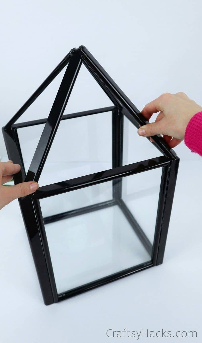 diy frame lantern with completed top
