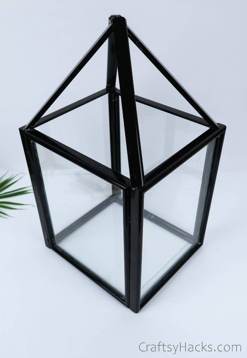 finished DIY dollar store lantern with frames