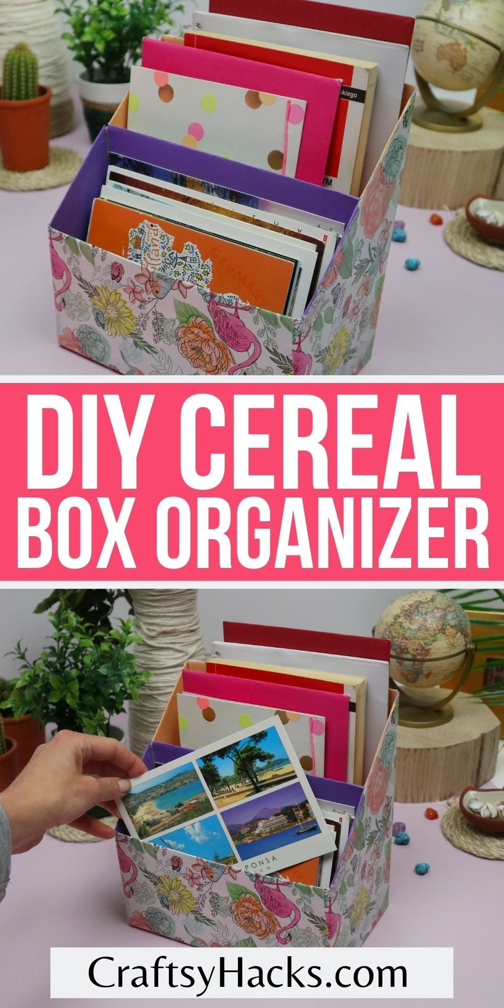 diy cereal box organizer upcycled