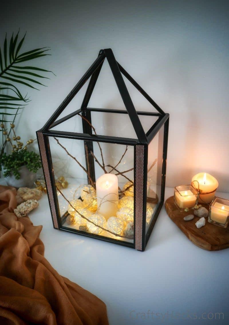 lit up dollar store frame lantern
