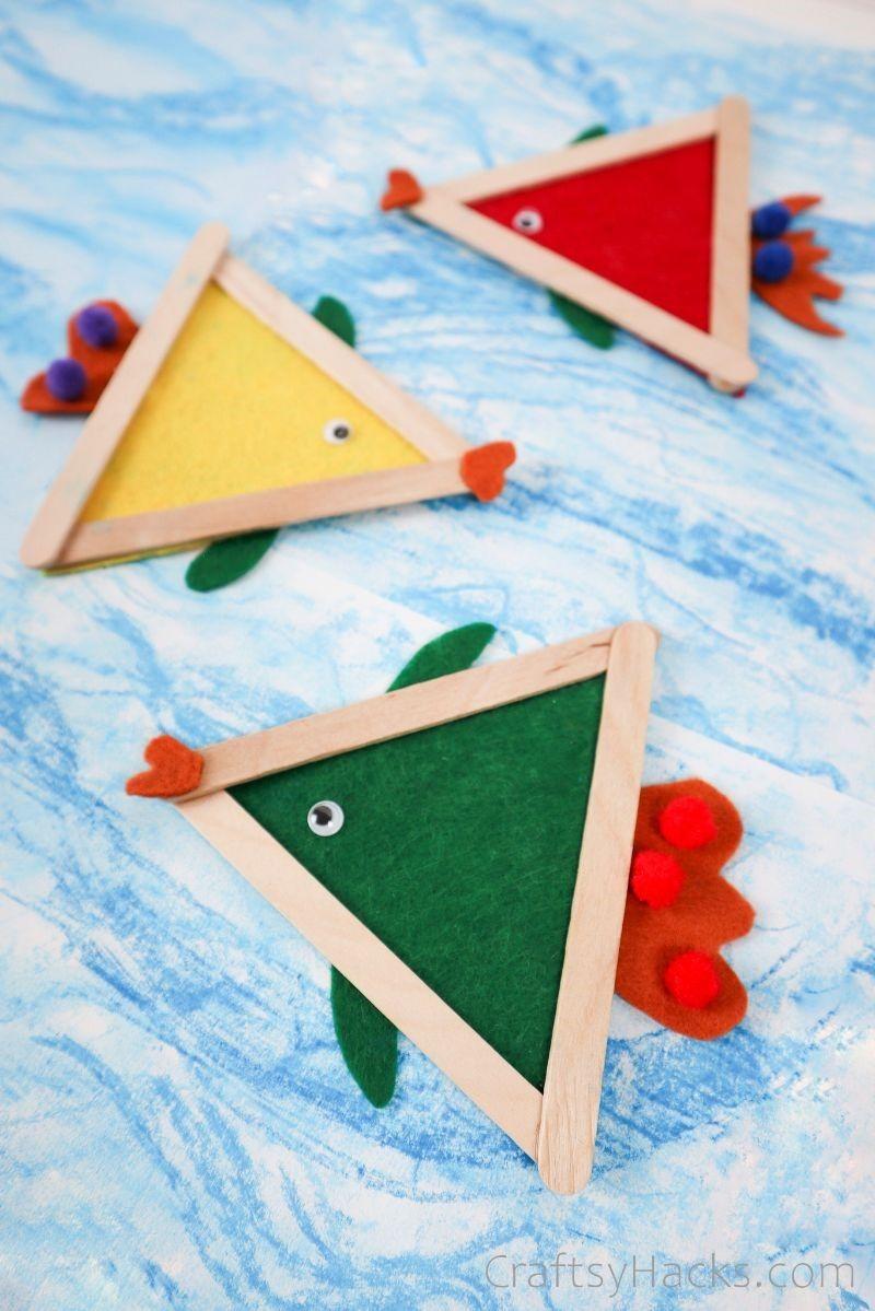 3 kids fish crafts