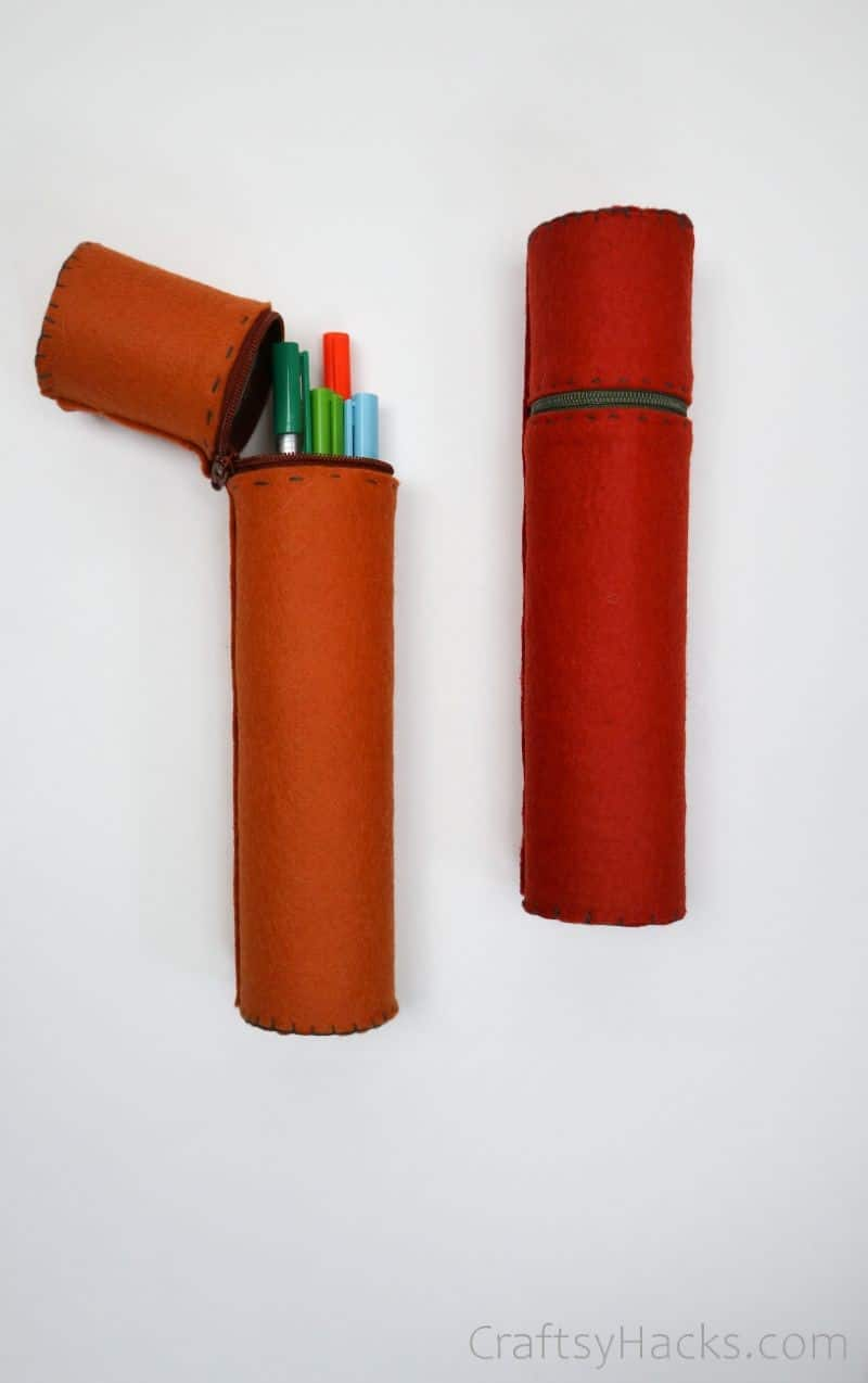 two diy pencil cases with colored pens