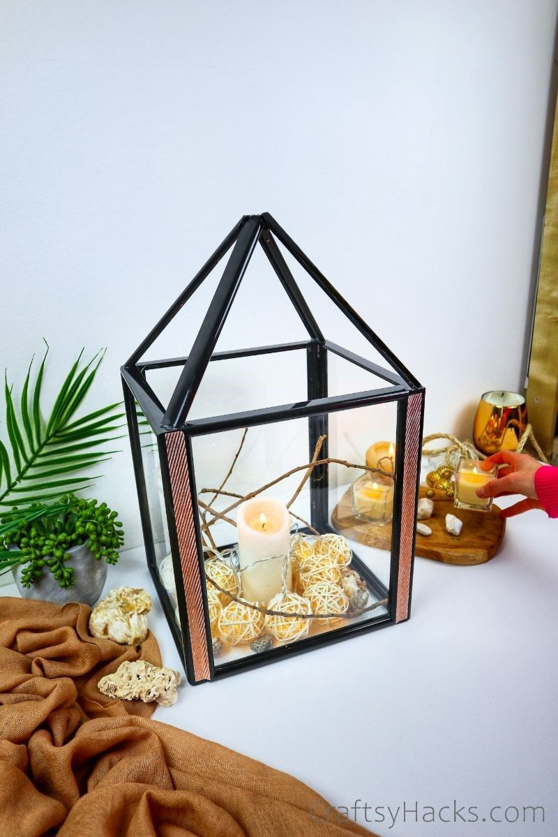 DIY lantern with candle and lights
