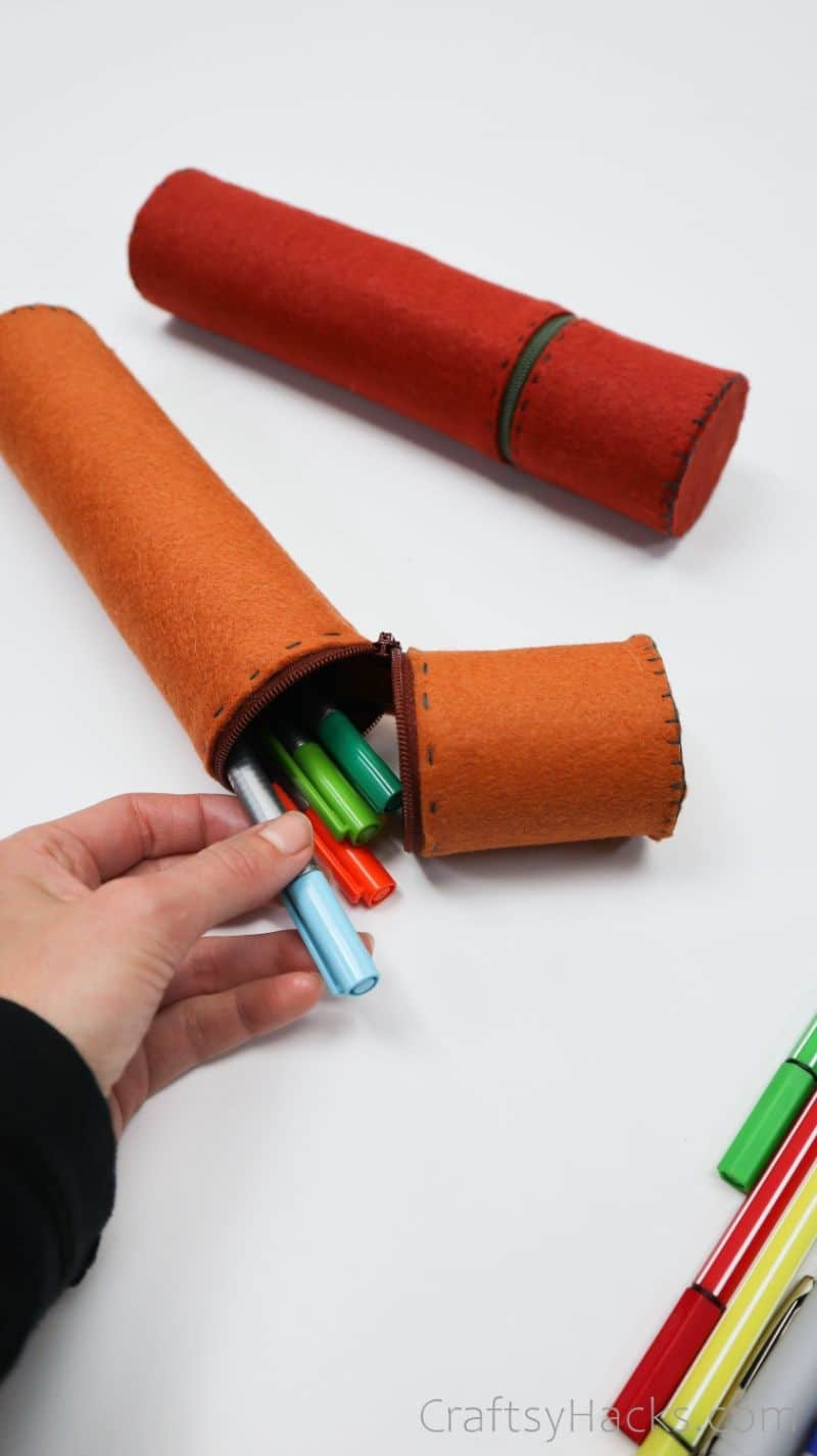 taking pen out of pencil case
