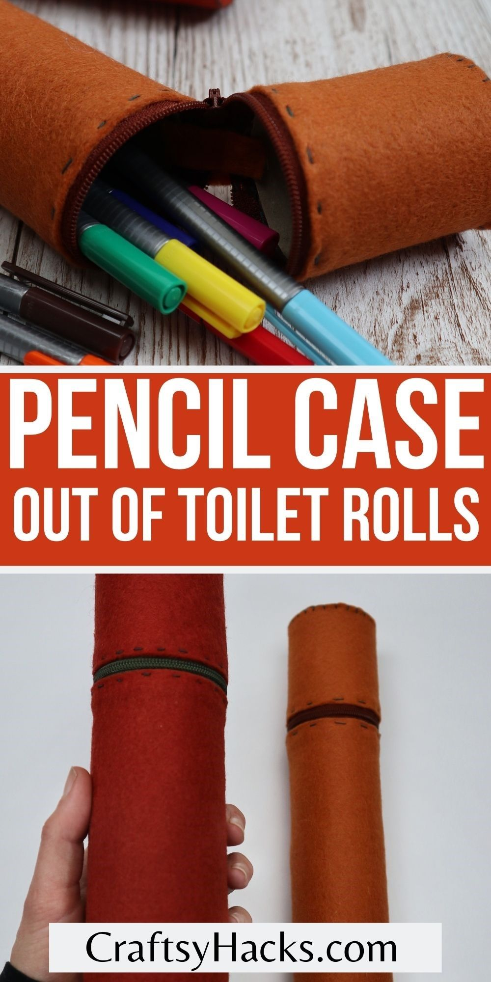 pencil case out of toilet rolls